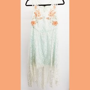 Free People embroidered lace dress mint Small